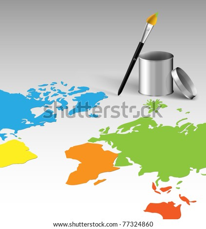Animated world map with brush and silver can