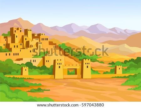 animation arab city vector