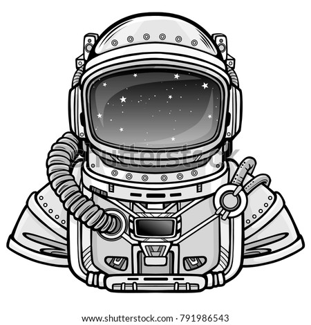 Animation Astronaut in a space suit.  Vector illustration isolated on a white background. Place for the text. Print, poster, t-shirt, card.