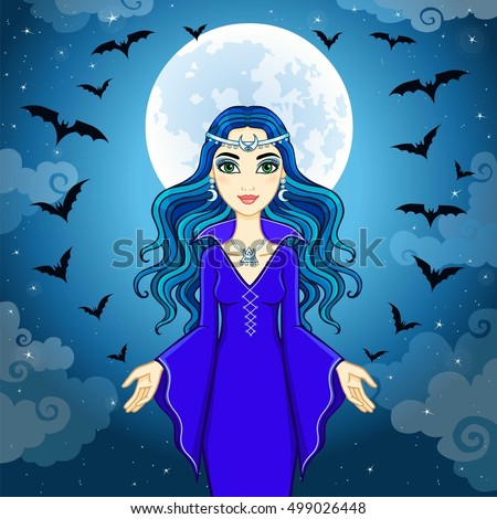 animation beautiful witch