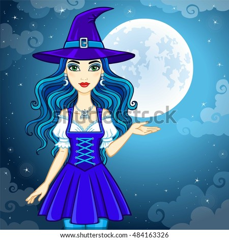 animation cute witch in a hat