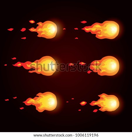 Animation fire ball. Animation of fire. Sprite for games.
