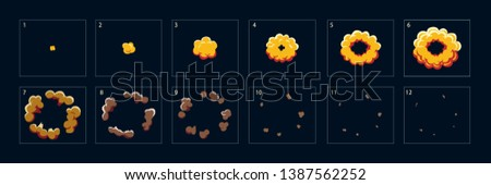 Animation for game of explosion effect, blast explosion effect. The effect of an explosion with smoke, flame and particles. Sprite sheet for video games, cartoon or animation. – Vector