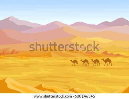 Animation landscape: desert, caravan of camels. Vector illustration.