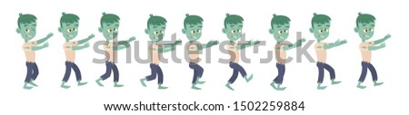 Animation of a 2D zombie or monster character walking for Halloween.