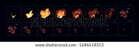 Animation of fire burst explosion . Fire explode effect for animation, sprite sheet for game, cartoon or animation burst explosion.-vector ストックフォト ©