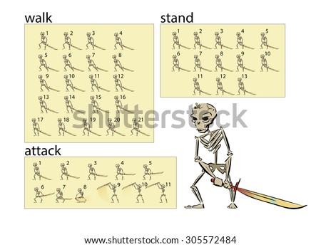 animation of skeleton warrior