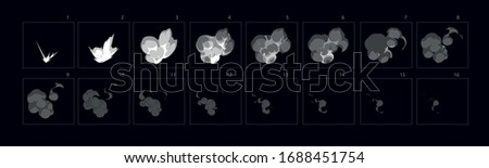 Animation of Smoke  burst explosion . Smoke explode effect for animation, sprite sheet for game, cartoon or animation burst explosion.-vector stock photo