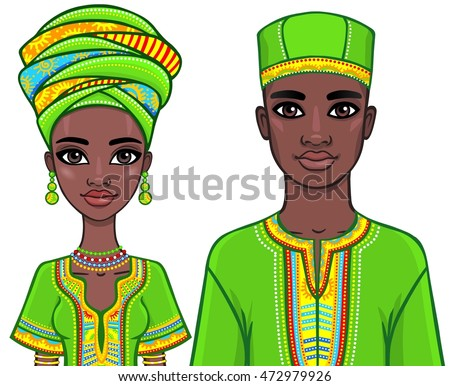 Animation portrait of the African family in ethnic clothes. The vector illustration isolated on a white background.