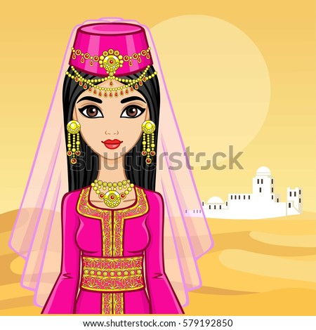 animation portrait of the arab