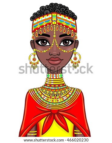 Animation portrait of the attractive African girl. The vector illustration isolated on a white background.