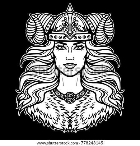 Animation portrait of the beautiful young woman Valkyrie. Pagan goddess, mythical character. White vector illustration isolated on a black background. Print, poster, t-shirt, card.
