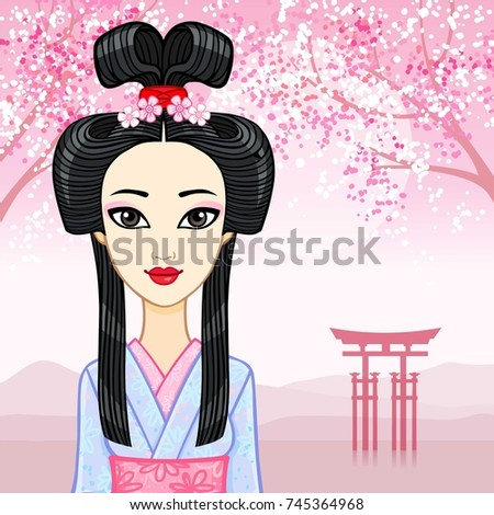 Royalty Free Animation Beautiful Chinese Girl In A 230484394 Stock