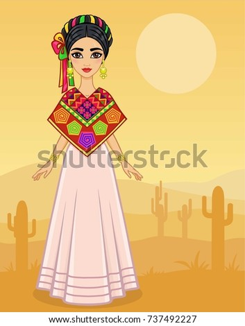 Shutterstock Animation portrait of the young Mexican girl in ancient clothes. Full growth. A background - the desert with cactus. Vector illustration. Card,  poster,  invitation, the place for the text.