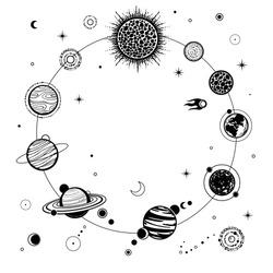 Animation solar system. Monochrome vector illustration on a white background.