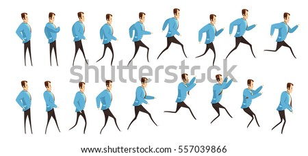 Animation with frame sequence of running and jumping man in business suit cartoon style isolated vector illustration