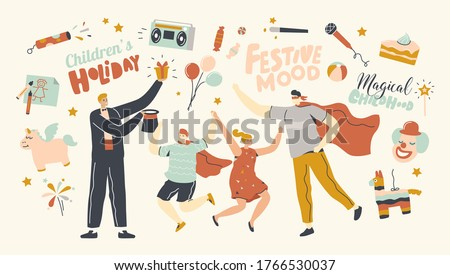 Animator Characters Entertaining Children at Child Birthday Party Performing Magical Tricks and Playing Role of Superhero, Happy Kids Jumping Enjoying Amusement Show. Linear People Vector Illustration Foto stock ©
