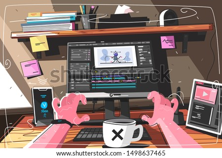 Animator designer in creative process vector illustration. Man sitting at workplace and working at new art project. Modeling artist job, motion graphic creator profession flat style concept
