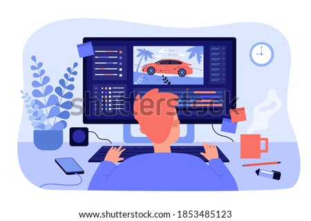 Animator sitting at workplace and creating motion design isolated flat vector illustration. Cartoon artist working on computer. Graphic creator profession and animation concept