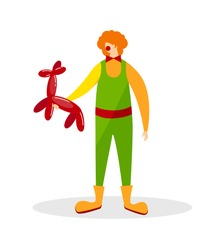 Animator Wearing Funny Clown Suit, Huge Boots, Curly Ginger Wig and Red Nose Stand with Balloon in Shape of Animal Isolated on White Background. Character. Cartoon Flat Vector Illustration. Clip Art.