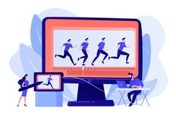 Animator working on character movement. Designing frames of walking. Computer animation, cartoon video creation, make your story alive concept. Pinkish coral bluevector isolated illustration