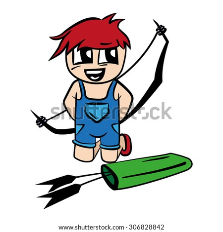 anime cartoon boy with bow and