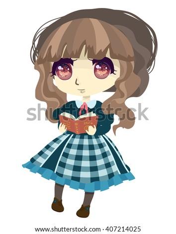 anime chibi girl is reading her