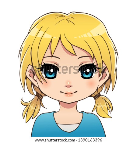 anime cute blond girl with blue