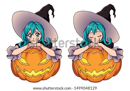 anime cute witch with blue hair