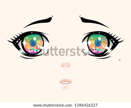 Anime eyes, cute, sparkling and dazzling hand draw illustration
