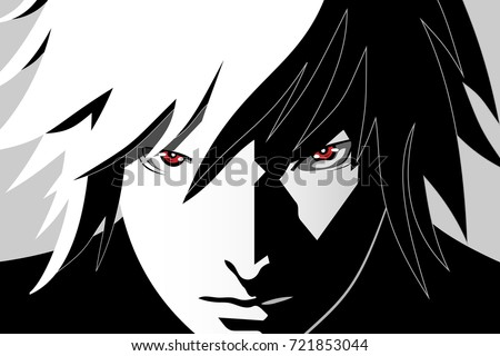 Stock Photo Anime eyes. Red eyes on black and white background. Anime face from cartoon. Vector illustration.