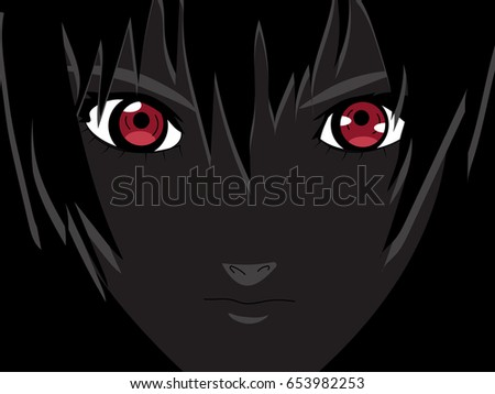 anime eyes red eyes on black