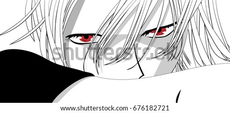 Stock Photo Anime eyes. Red eyes on white background. Anime face from cartoon. Vector illustration.