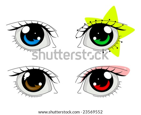 anime eyes male. stock vector : Anime eyes set