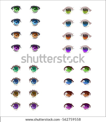 anime eyes set four different