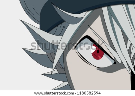 Stock Photo Anime face from cartoon with anime red eyes on white background. Vector illustration