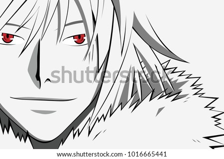 Stock Photo Anime face with red eyes from cartoon. Web banner for anime, manga on white background. Vector illustration