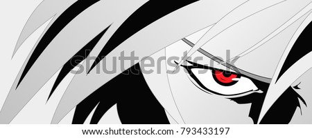 anime face with red eyes from