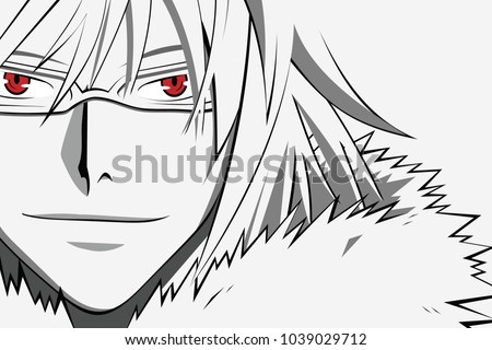 Stock Photo Anime face with red eyes in glasses from cartoon. Web banner for anime, manga on white background. Vector illustration