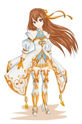 Anime girl hair brown with white gold costume character game illustration