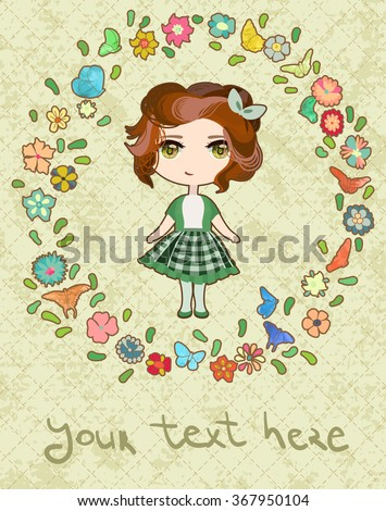 anime girl in floral wreath