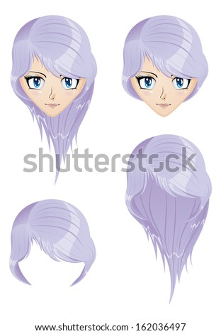 Stock Photo Anime girl with light violet hair, long and short style.