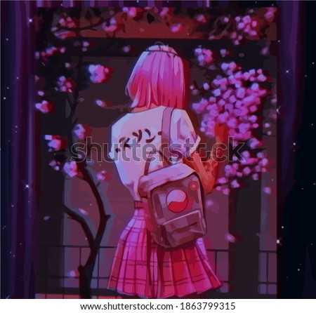 anime girl with pink hair  a