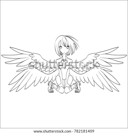 anime girl with wings angel