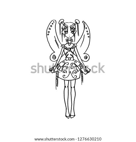 anime girl with wings fairy in