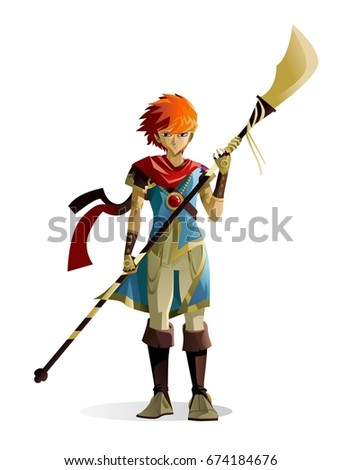 anime hero holding a naginata