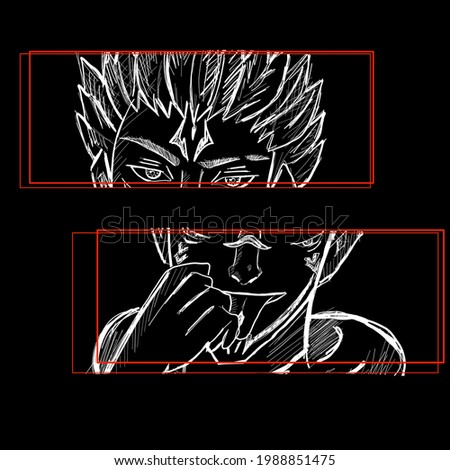 Anime manga face. Vector design for t-shirt graphics, banner, fashion prints. Emotions comics strip