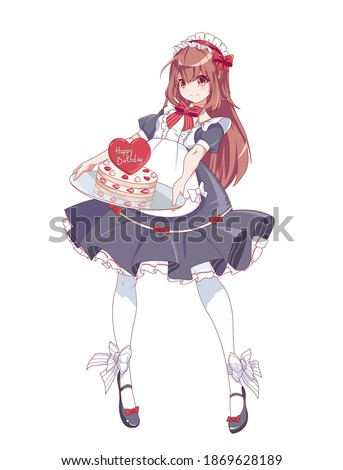 Anime manga girl dressed as a maid. A waitress with a tray holds a birthday cake. Vector illustration