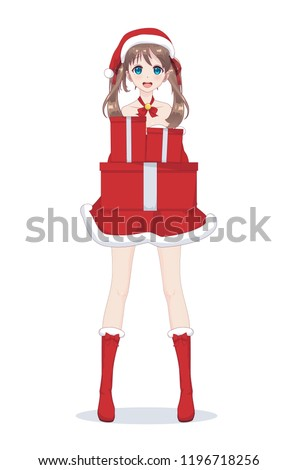 Stock Photo Anime manga girl dressed in Santa Claus costume. Portrait of beautiful Japanese Asian woman holding box with gift. Isolated white background