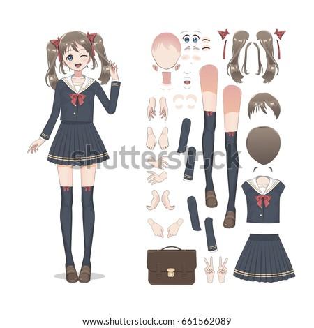 anime manga schoolgirl in a